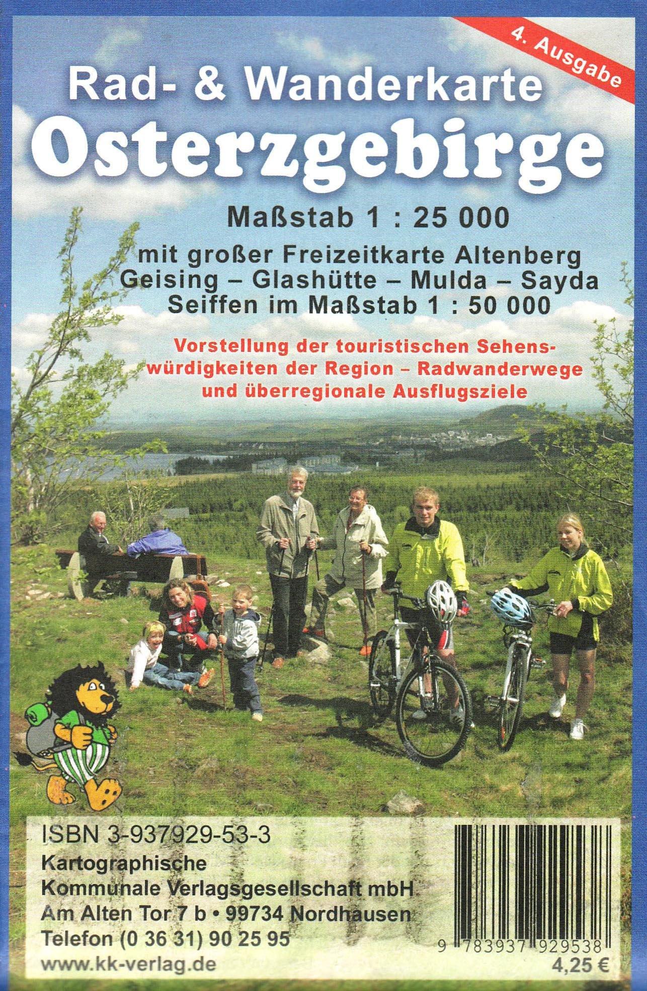 Osterzgebirge: Rad- und Wanderkarte Maßstab 1:25000 und Freizeitkarte Maßstab 1:50000
