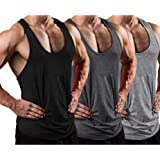 LecGee Mens 3 Pack Gym Tank Tops Dry Fit Y-Back Workout Muscle Tee Stringer Bodybuilding T-Shirts
