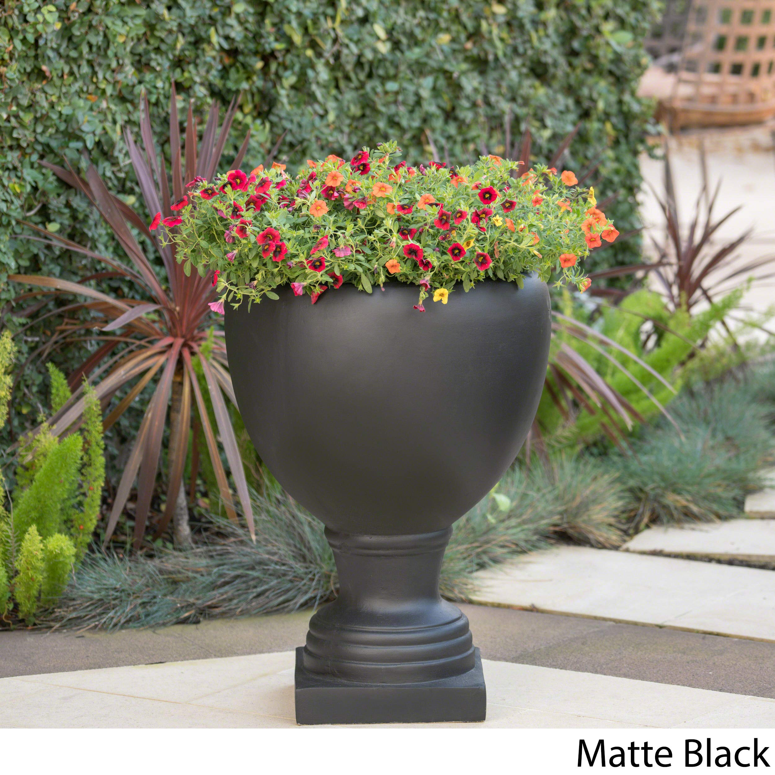 Great Deal Furniture Shiny Outdoor Matte Black Finished Cast Stone Urn by Great Deal Furniture (Image #3)
