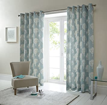 One Pair Of Woodland Trees Eyelet Curtains In Duck Egg Size 90