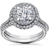 2 ct Round Halo Lab Created Diamond Engagement Ring Setting & Eternity Band 14k