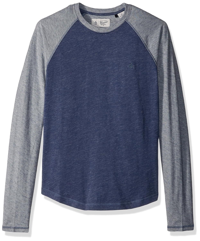 Original Penguin Men's Long Sleeve Plaited Slub Baseball Shirt OPKF7020