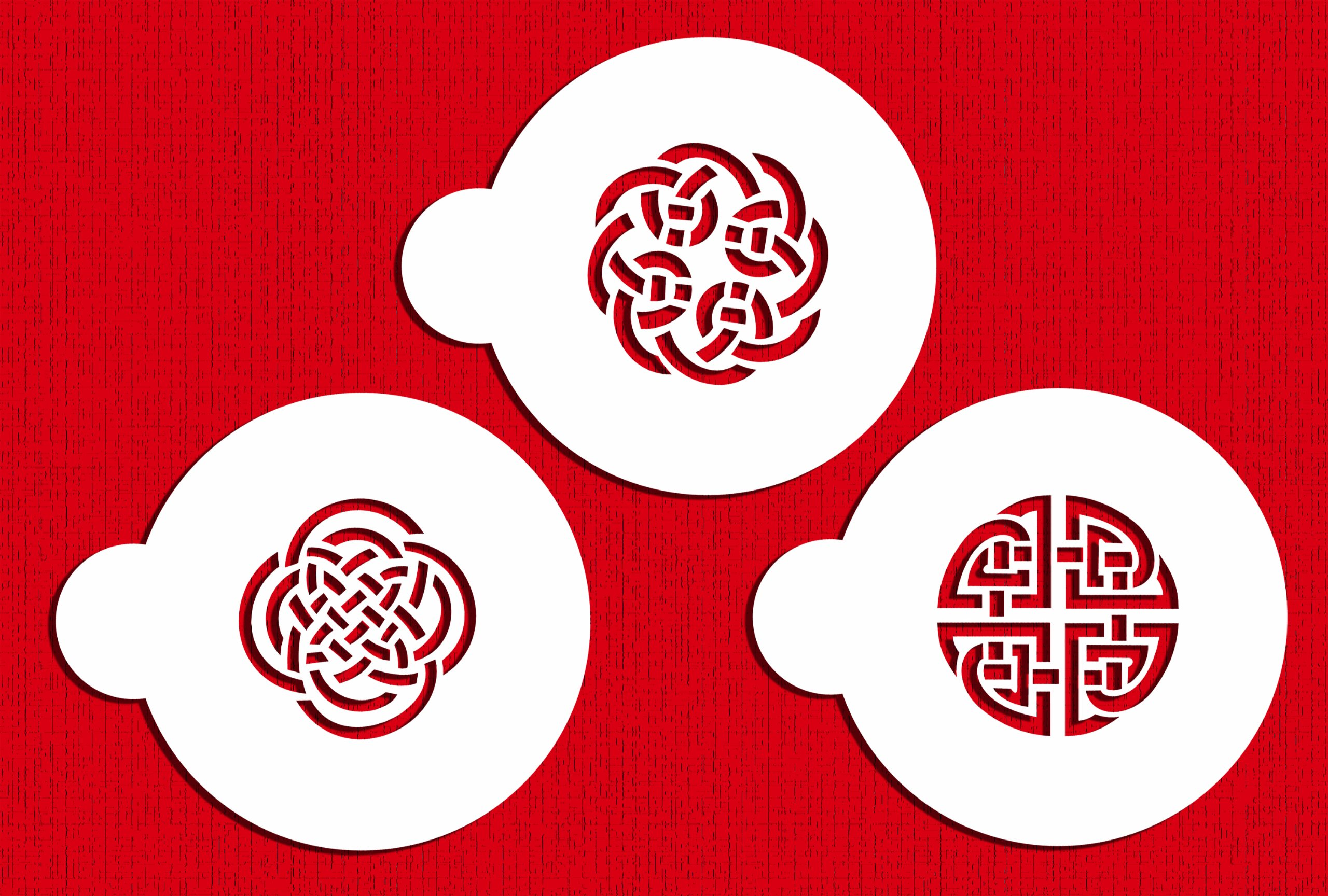 Designer Stencils C317 Celtic Knots Cookie Stencils, Beige/semi-transparent