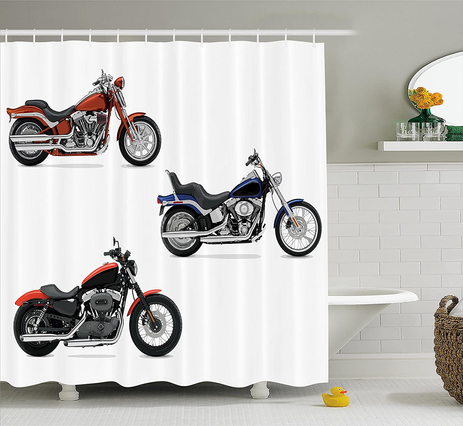 Motorcycle Decor Shower Curtain Set