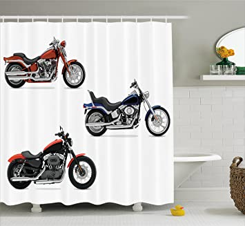 Motorcycle Decor Shower Curtain Set By Ambesonne, Illustration Of Three  Motorcycles Freedom Transport Risky Extreme