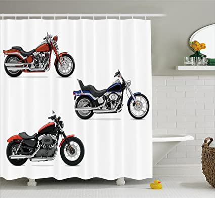 Motorcycle Decor Shower Curtain Set By Ambesonne Illustration Of Three Motorcycles Freedom Transport Risky Extreme