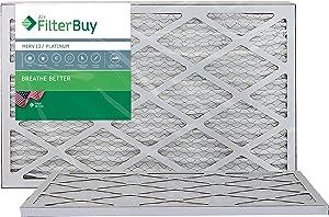 FilterBuy 16x25x1 MERV 13 Pleated AC Furnace Air Filter, (Pack of 2 Filters), 16x25x1 – Platinum