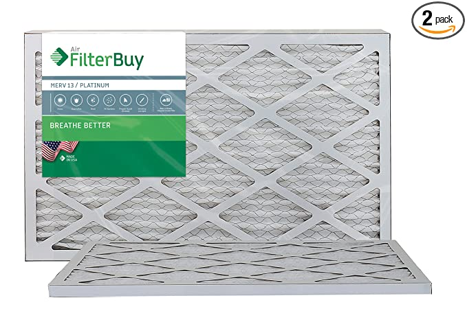 filterbuy 12x20x1 merv 13 pleated ac furnace air filter, (pack of 2 ...