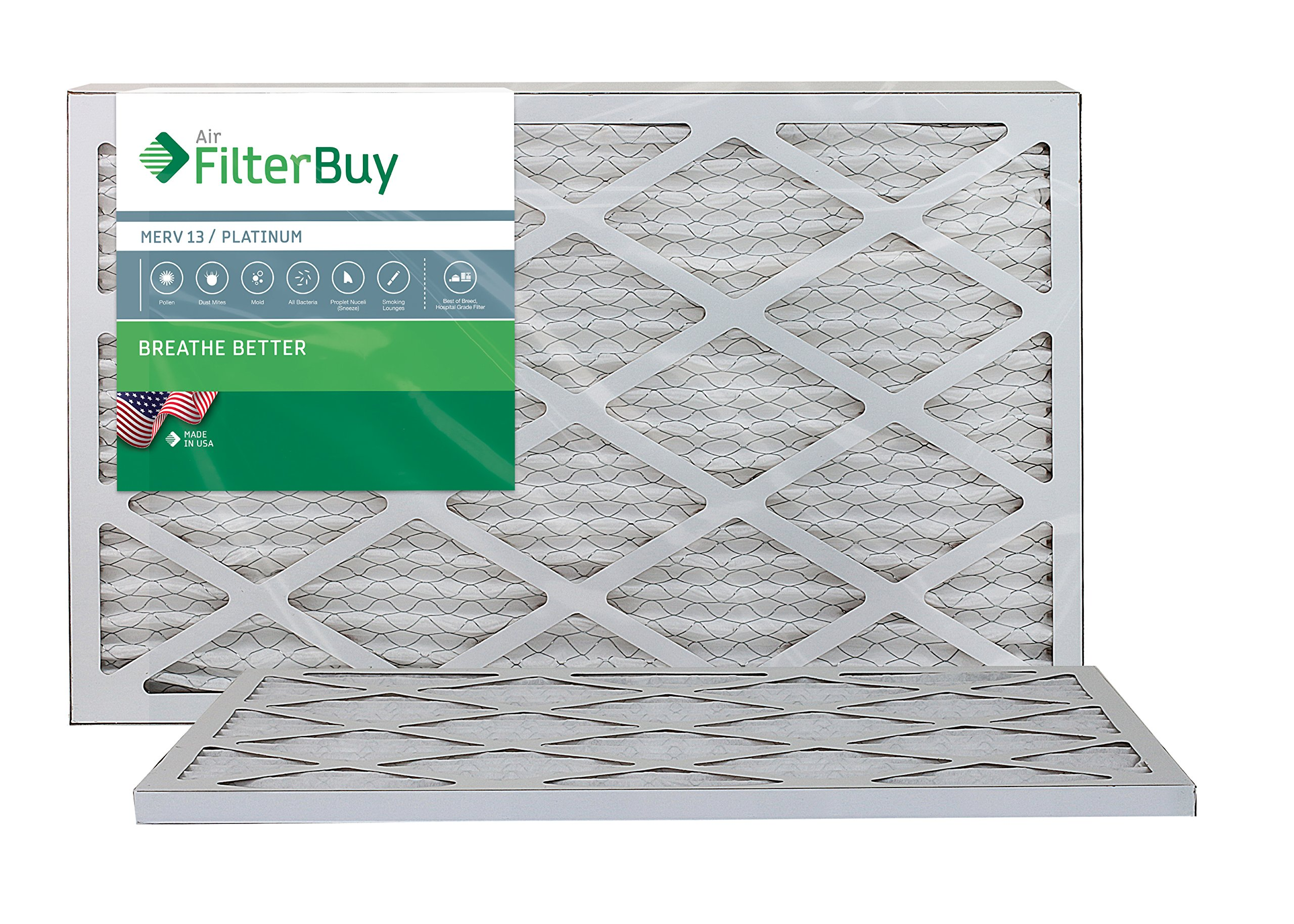 AFB Platinum MERV 13 10x20x1 Pleated AC Furnace Air Filter. Pack of 2 Filters. 100% produced in the USA. by FilterBuy