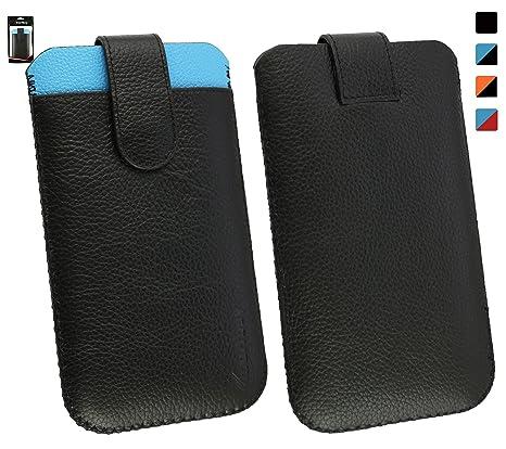Emartbuy Meizu M5 Auténtico Becerro Cuero Negro/Azul Funda ...