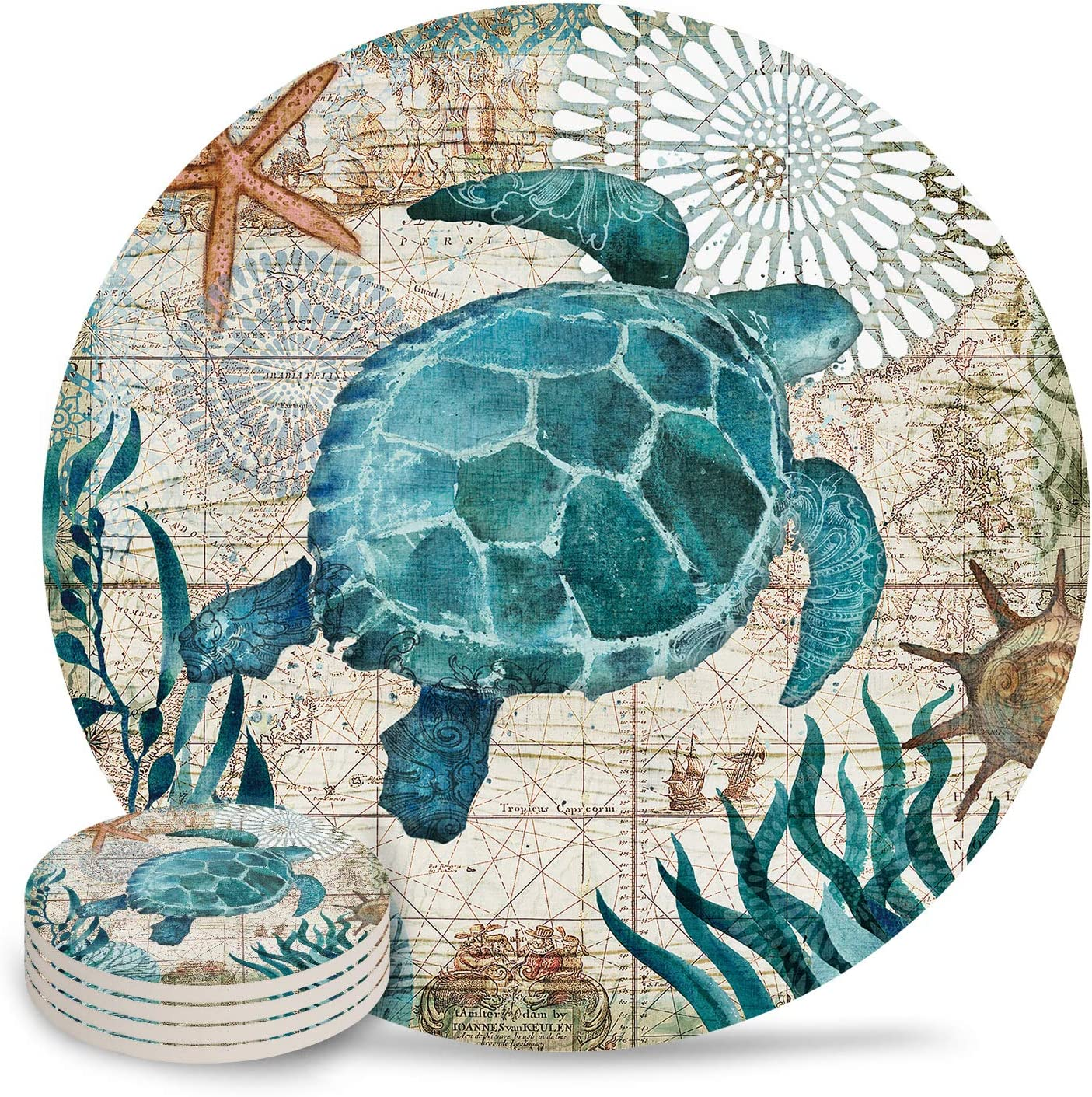 Turtle Coasters for Drinks Absorbent Green Sea Beach Ceramic Coasters with Natural Cork Base Stone Coasters Perfect Housewarming Hostess Gift for Birthday,New Home,Living Room Decor 4pc