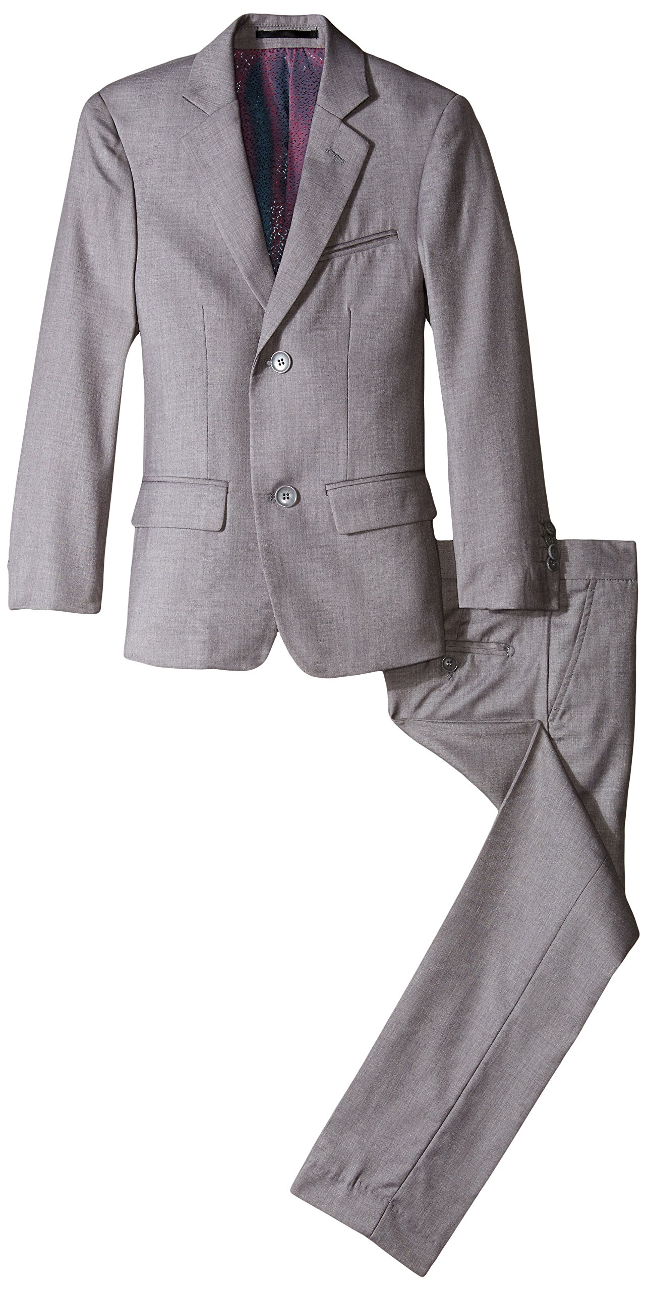 Isaac Mizrahi Big Boys' Slim Boys 2 Piece Cut Linen/Cotton Suit, Light Grey, 20