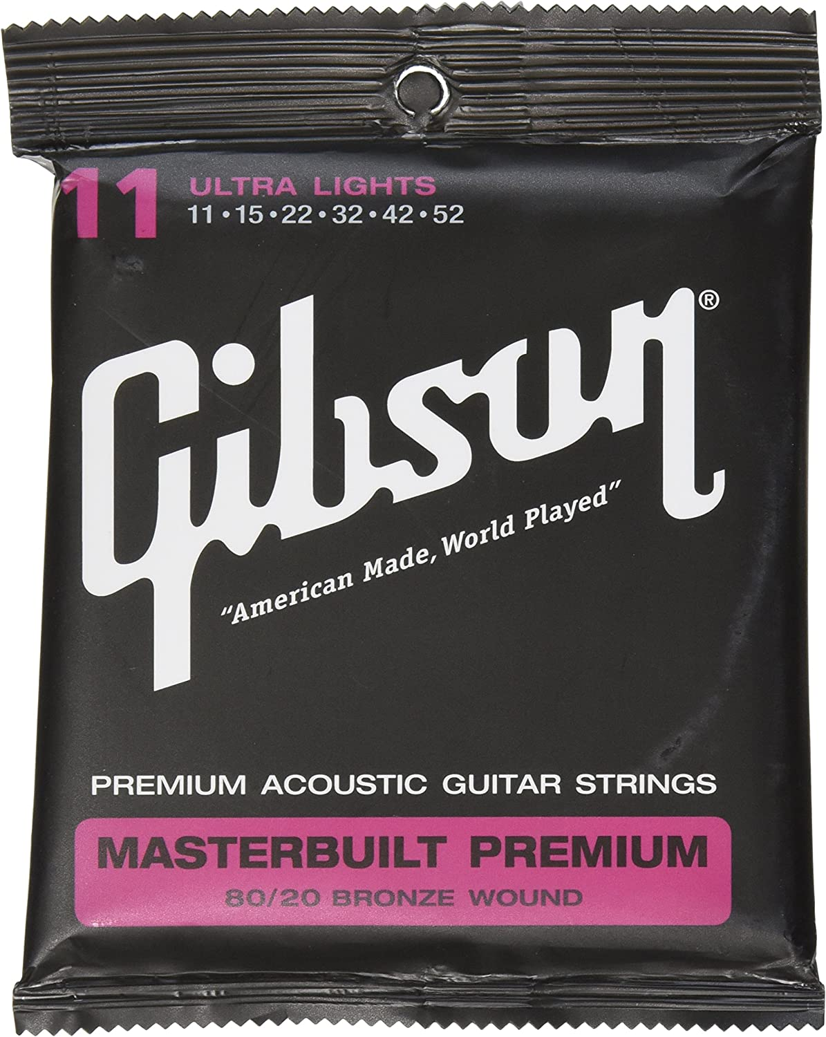 Gibson Masterbuilt Premium 80/20 Bronze Acoustic Guitar Strings 11-52 Ultra Lights