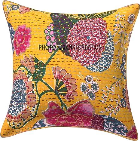 Bohemian Decor Indian Sofa Cushion Cover Yellow Cushion Cover Indian Patchwork Vintage Cushion Cover Indian Decor