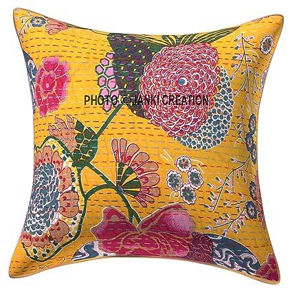 Amazon Com Yellow Kantha Fruit Handmade Indian Throw Pillow Cover