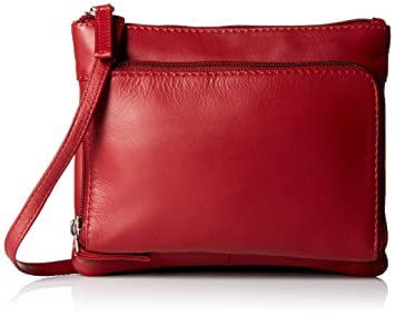 e65c74fbd775 Visconti Visconti Sling Bag Handbag, Leather Messenger Bag for Ladies, Red,  One Size