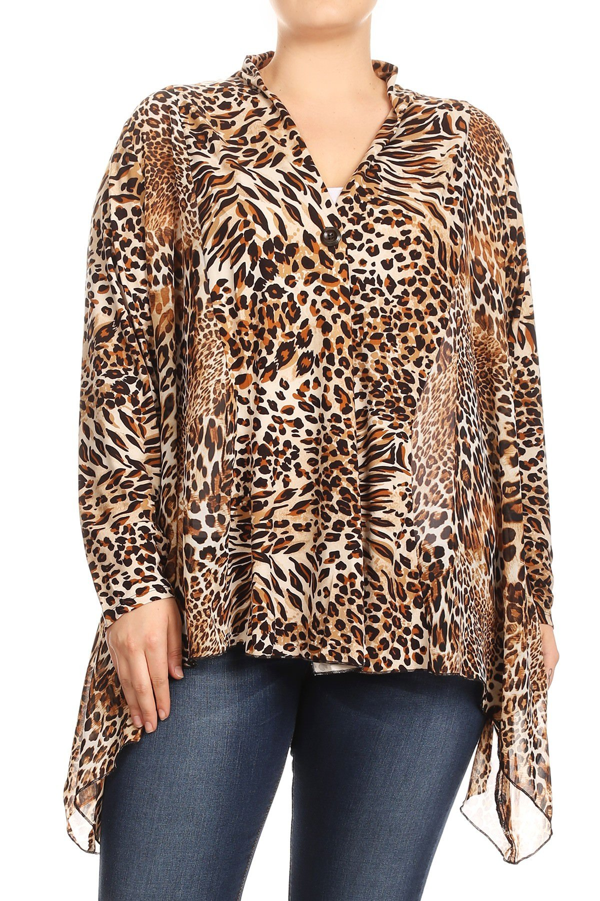 Aki Shop Women Plus Size Leopard Print Long Sleeve Loose Fit Cardigan Vest Top Coffee 2XL SE17041