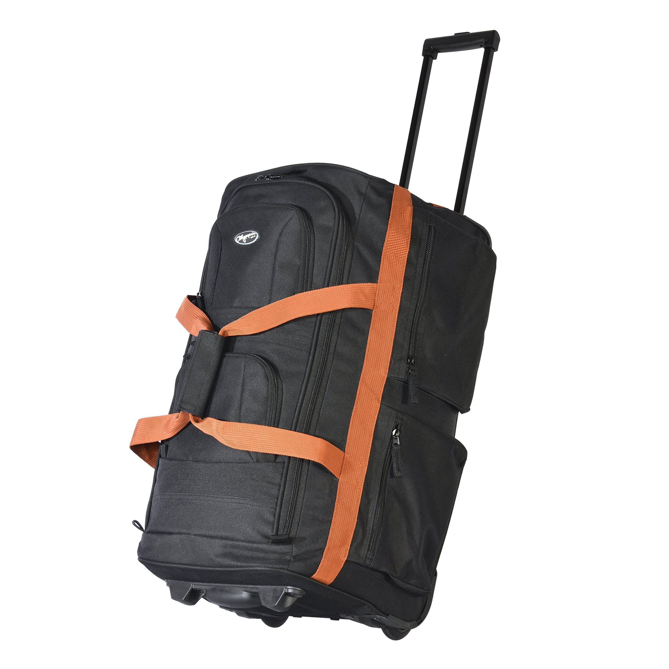 Olympia Luggage 22'' 8 Pocket Rolling Duffel Bag (Black w/Beige - Exclusive Color)
