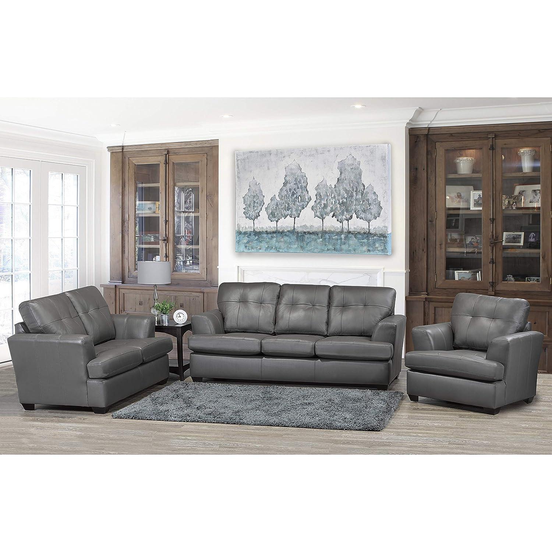 Amazon Com Sofaweb Com Travis Premium Grey Top Grain Leather Sofa