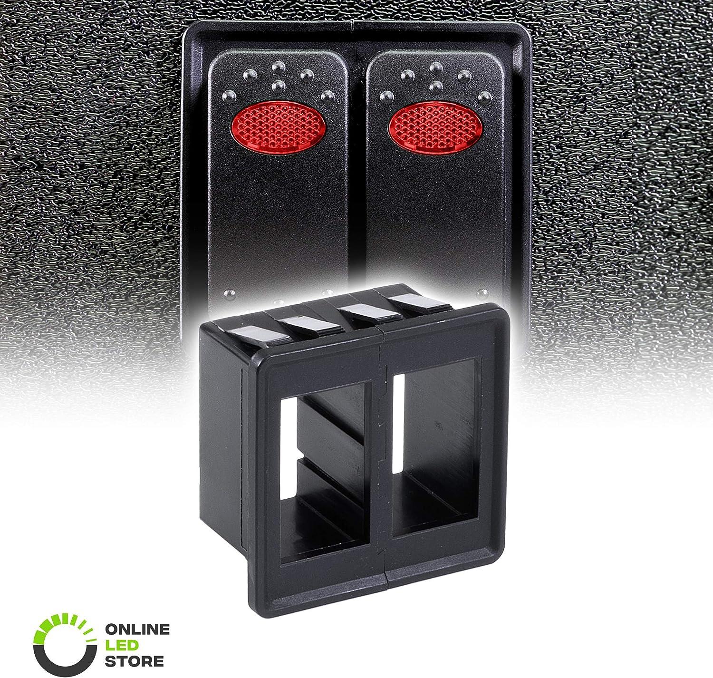 2-Slot Rocker Switch Panel Housing Kit [Industry Standard Fit] [Heavy Duty] [Expandable Design] [Professional Look] Automotive Mount Rocker Switch Holder