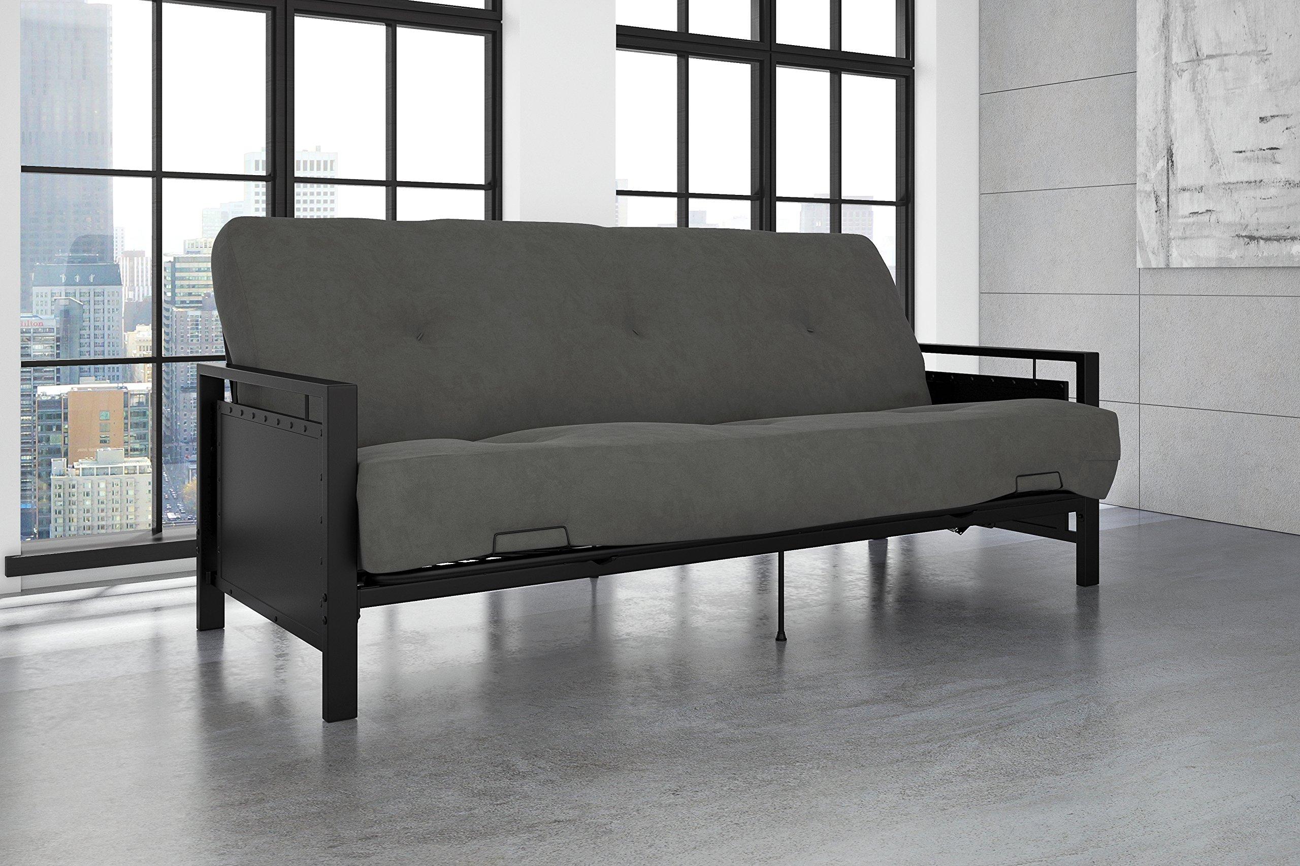 DHP Henley Metal Arm Futon Frame, Industrial Loft Design, Converts to Sleeper, Black Sturdy Metal by DHP (Image #3)