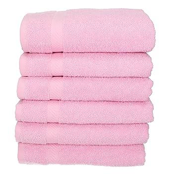BETZ 6 unidades toallas de mano serie Palermo 100% algodon color rosa 6 toallas tamaño 50x100 cm: Amazon.es: Hogar