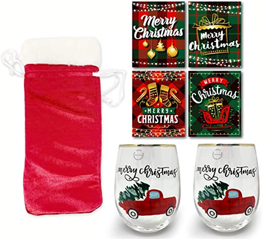 Amazon Com Christmas Stemless Wine Glass Holiday Presents Ideas Christmas Gifts Wine Lovers Drinking Glasses Gift Red Truck Wine Glass With Wine Labels And Gift Bag Wine Glasses