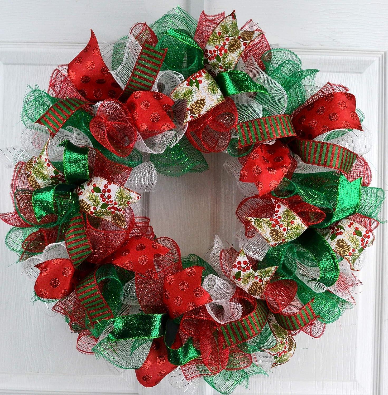 Amazon.com: Christmas Wreaths | Red White Emerald Green Outdoor Mesh Front Door  Wreath : C2: Handmade