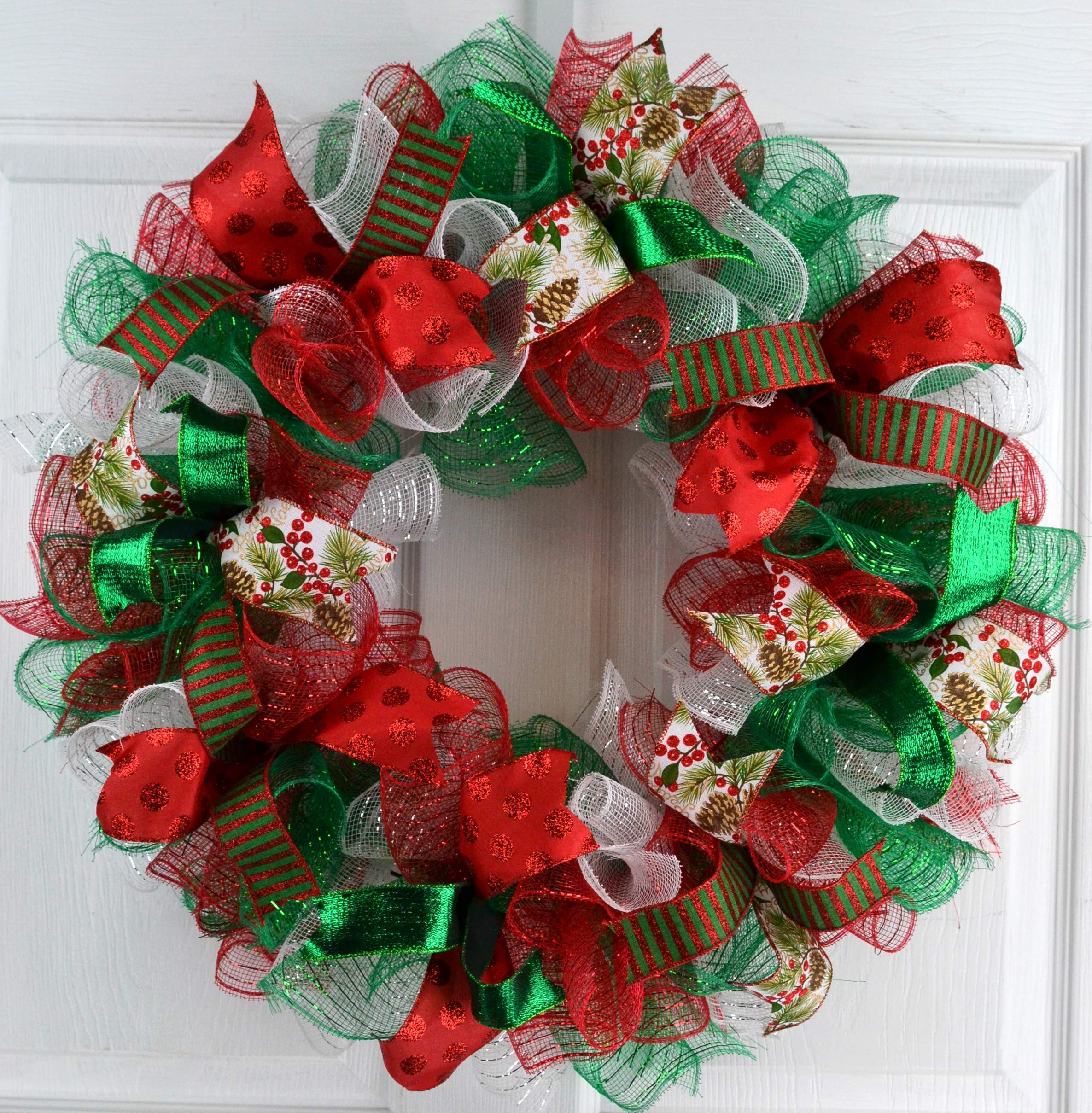 Christmas Wreaths Red White Emerald Green Outdoor Mesh Front Door