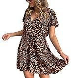 ECOWISH Womens Deep V Neck Floral Leopard Dress Short Sleeve Sexy Ruffles Fashion Mini Dress