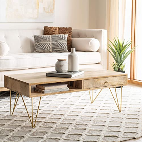 Safavieh Home Marigold Mid-Century Modern Natural and Brass Hairpin Leg Coffee Table