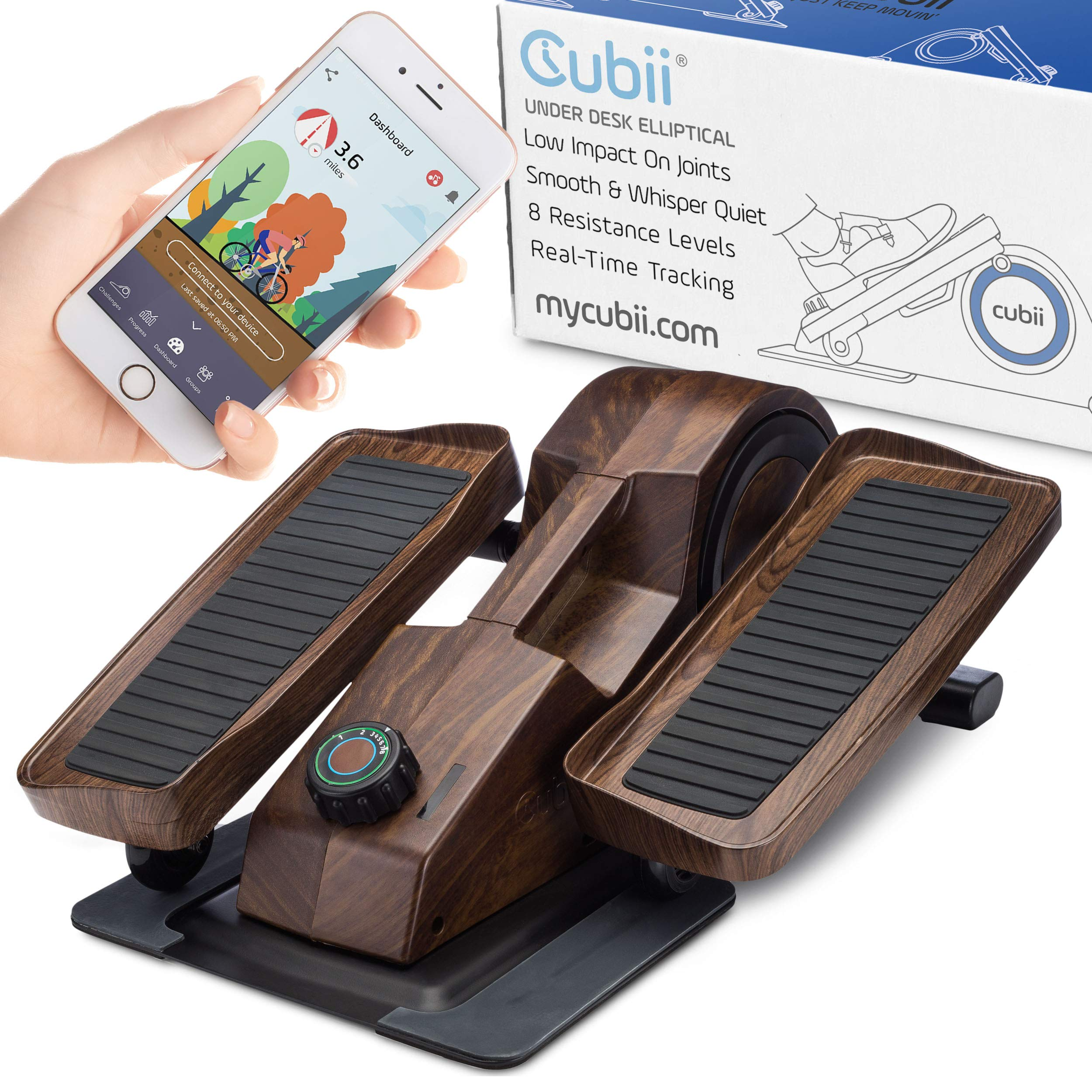 Cubii Desk Elliptical, Bluetooth Enabled, Sync with Fitbit & Apple HealthKit, Premium Wood Finish, Easy Assembly, Quiet