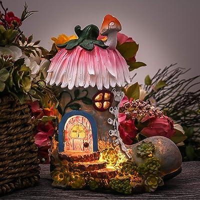 TERESA'S COLLECTIONS 8.8 Inch Garden Statues Fairy House - Boot, Solar Powered Garden Lights for Outdoor Patio Yard Decorations : Garden & Outdoor