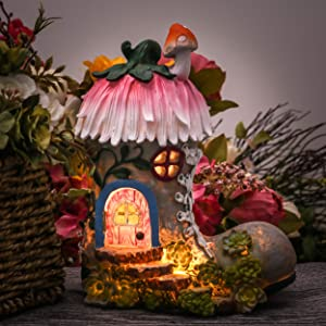 "Teresa's Collections 8.8"" Garden Statues Fairy House - Boot, Solar Powered Garden Lights for Outdoor Patio Yard Decorations"