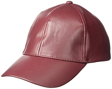 0660a9deaa2c1f NYC Underground Women's Vegan Leather Baeball Cap, Burgundy One Size ...