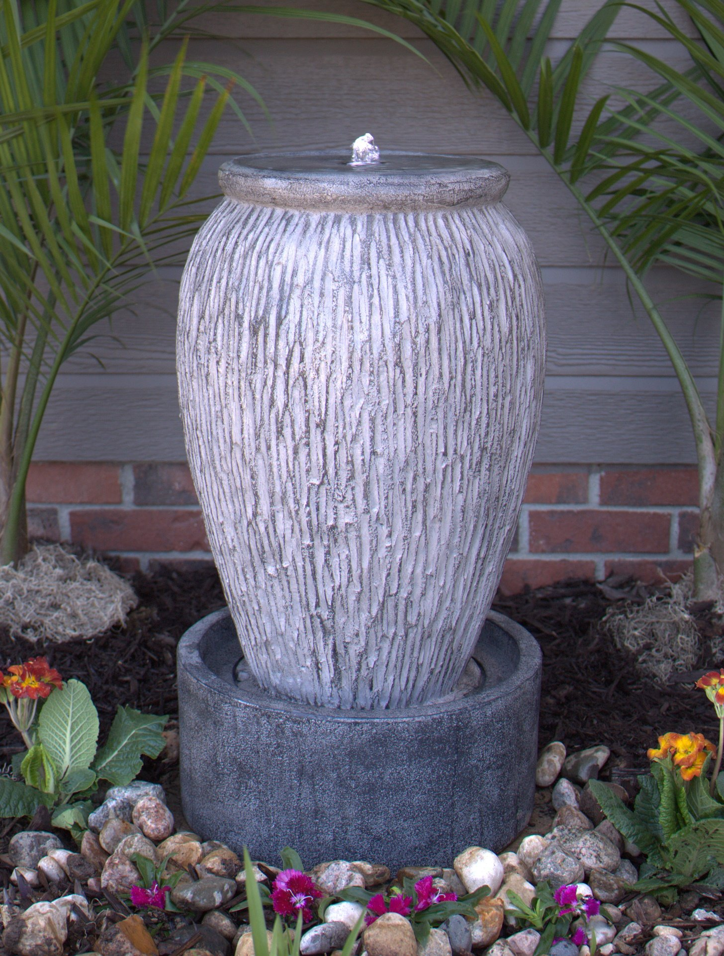 Exclusive Electric Outdoor LED Lighted Stone Finish Urn Fountain by Pebble Lane Living