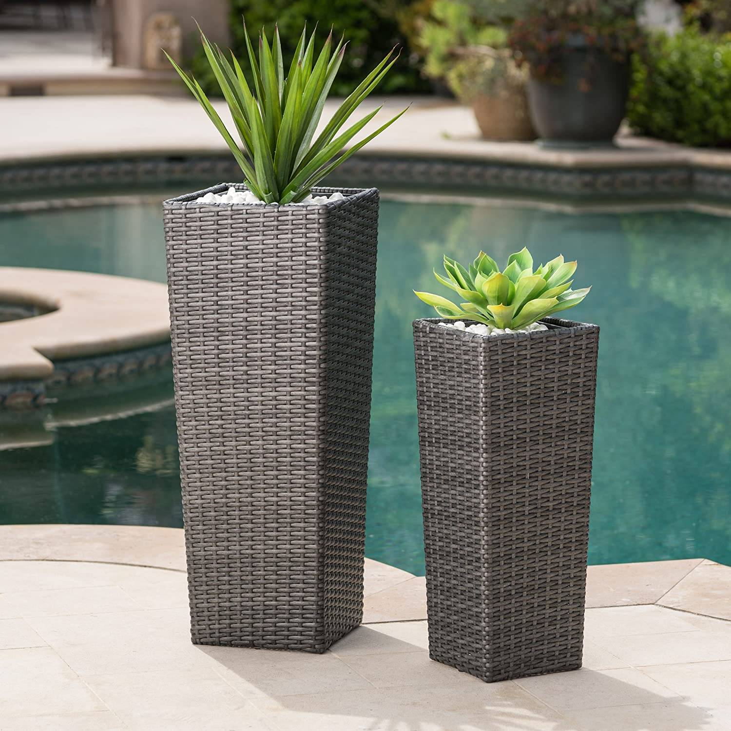 Eden Outdoor Wicker Flower Pots Set of 2 Grey