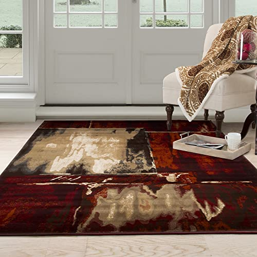 Lavish Home Opus Artfully Abstract Area Rug, 5 3 x 7 7 , Red