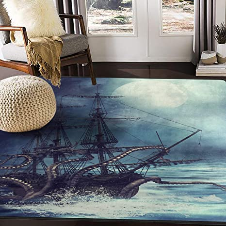 Alaza Night Scene With Pirate Ship Octopus Area Rug For Living Room Bedroom 5 3 X4 Home Kitchen