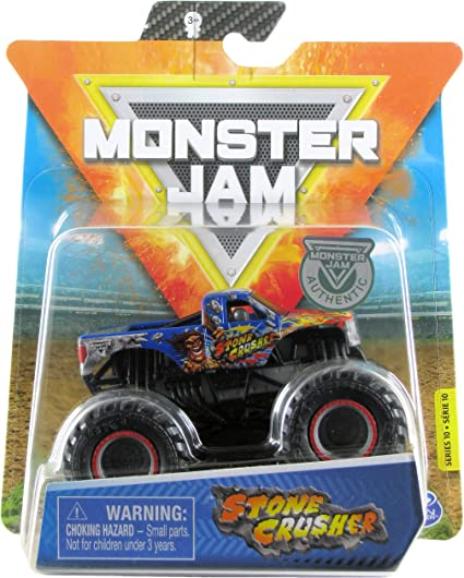 Amazon Com Monster Jam 2020 Spin Master 1 64 Diecast Monster Truck With Wristband Arena Favorites Stone Crusher Toys Games