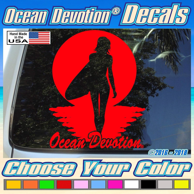 "Reel Life Automobile Keywords.. Fishing Surfing Truck Window Car Beach Life Surf Sea Life Salt Life Surf Girl V44 /""Ocean Devotion/®/"" Vinyl Decal//Sticker 5w x 8h inches Boat"