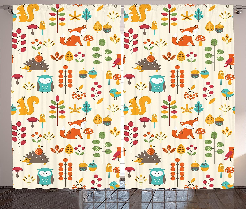 "Ambesonne Children Curtains, Kids Autumn Pattern with Owl Fox Squirrel Birds Animal Leaves Print, Living Room Bedroom Window Drapes 2 Panel Set, 108"" X 63"", Cream Orange"