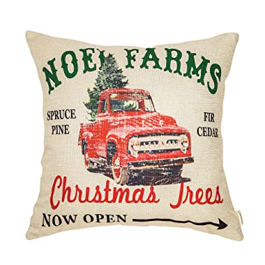 Fahrendom Rustic Farmhouse Style Noel Farms Christmas Trees Red Vintage Truck Winter Holiday Sign Cotton Linen Home Decorative Throw Pillow Case Cushion Cover with Words for Sofa Couch 18 x 18 in