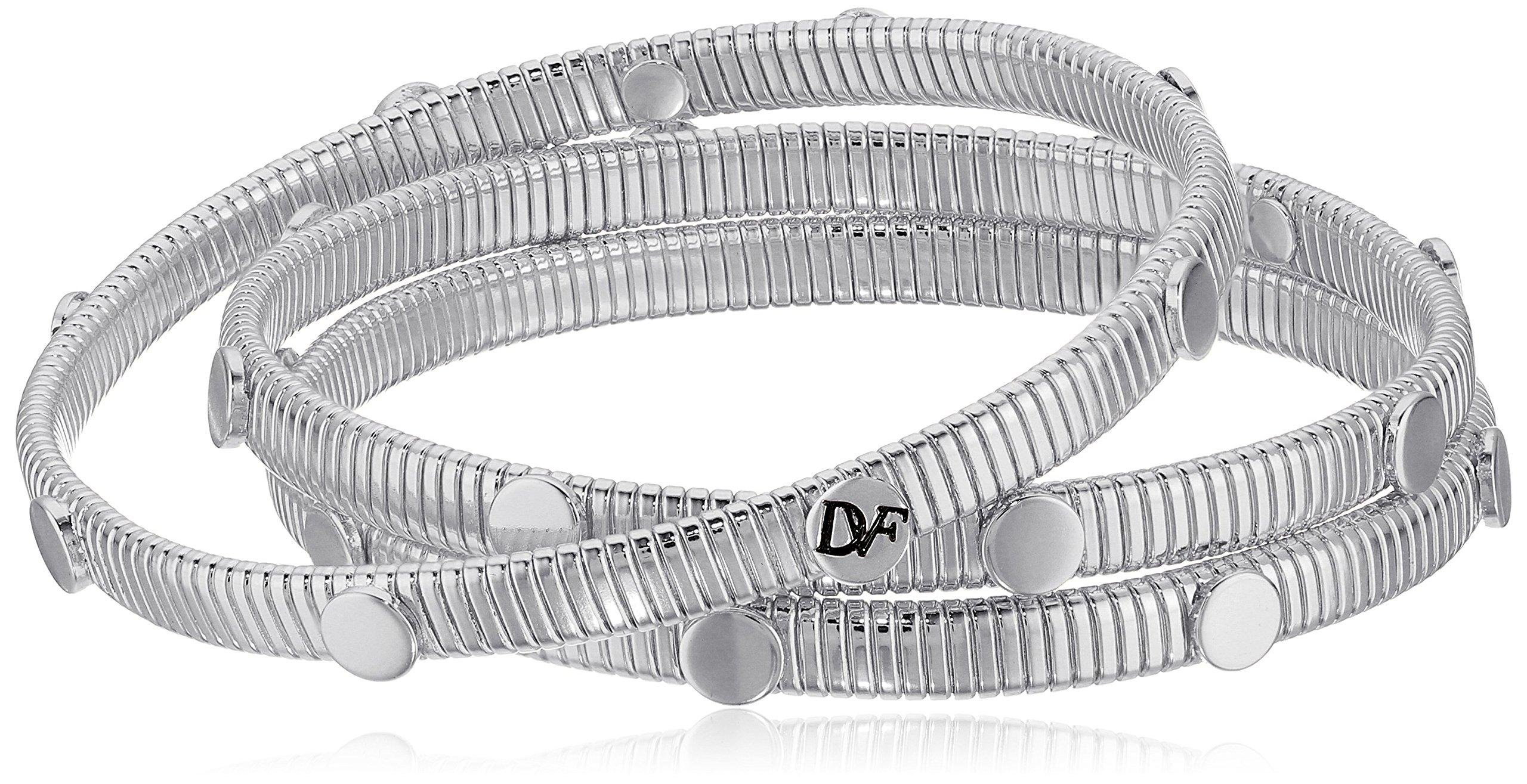 Diane von Furstenberg ''Summer Disco'' Circle Snake Chain Silver Bangle Bracelet