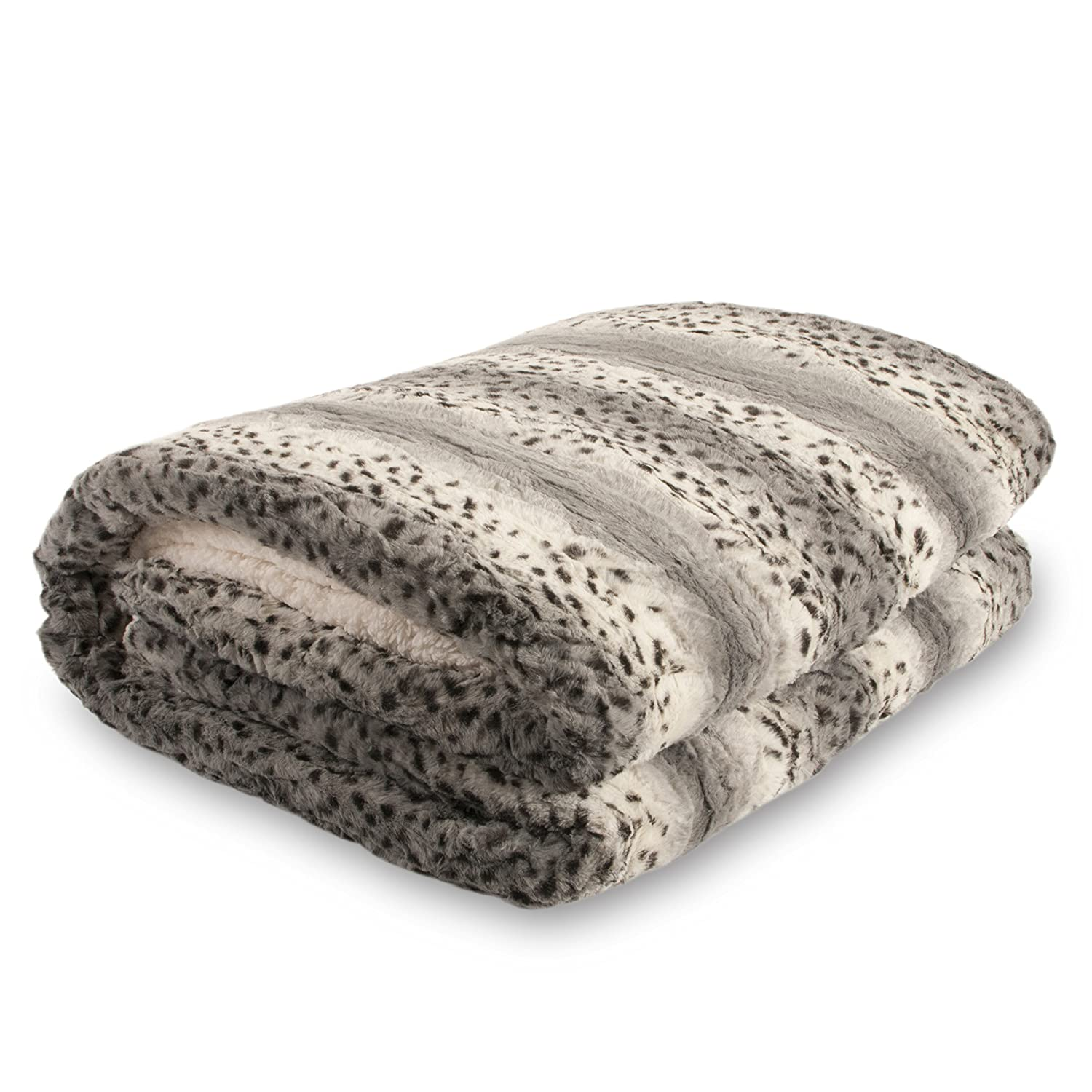 Bella Safari Faux Fur Plush Throw Blanket Comforter AQ607, Queen, Snow Leopard