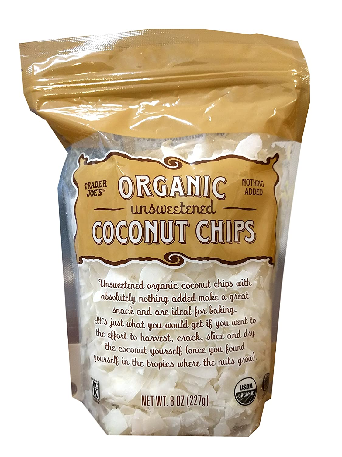 Amazon Com Trader Joe S Organic Unsweetened Coconut Chips Pack Of 1 Grocery Gourmet Food