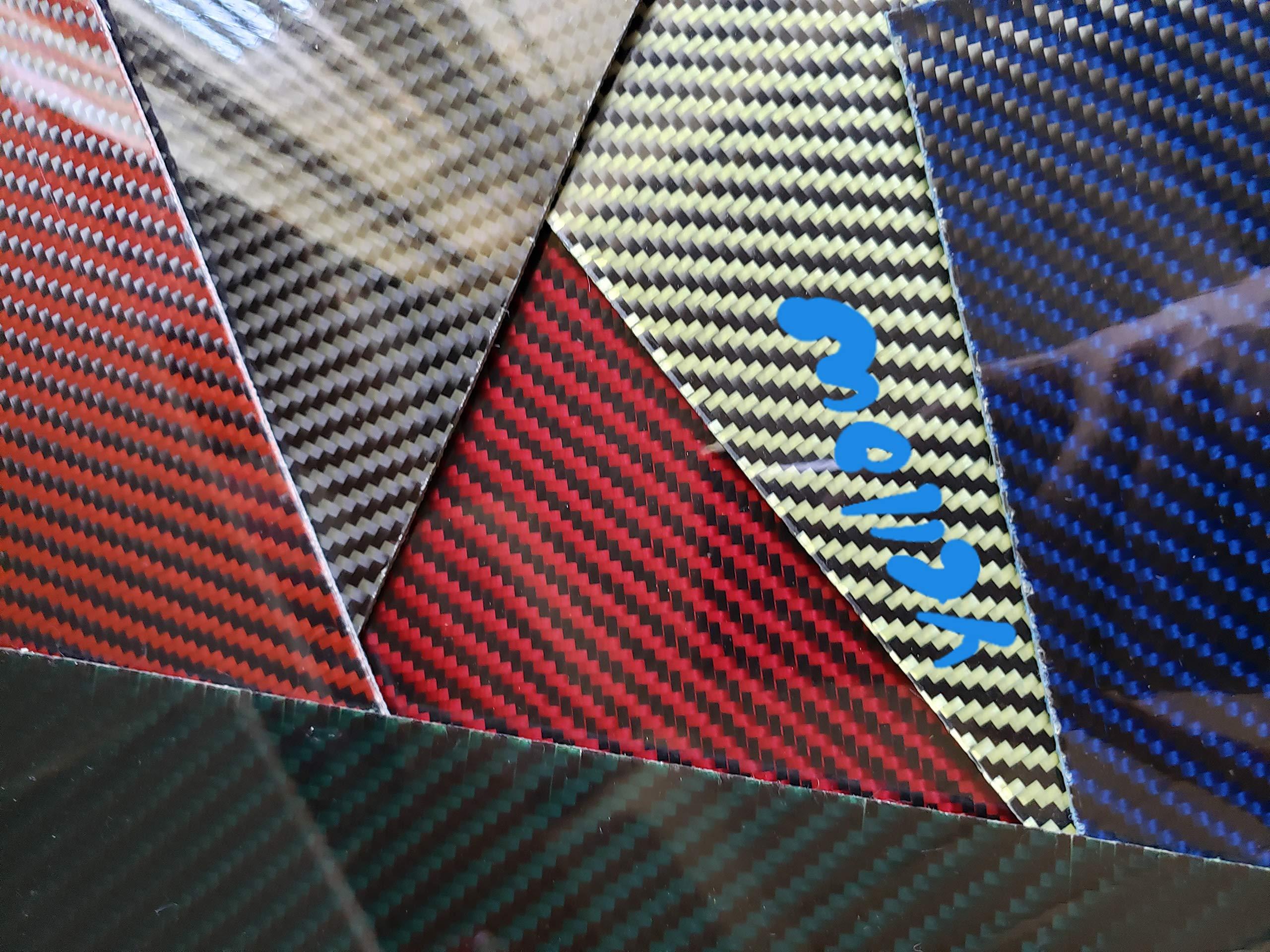12''x30''x1/32'' Yellow 2x2 Twill Carbon Fiber with Kevlar Hybrid Fiberglass Plate Board Sheet Panel Glossy One Side by CFS