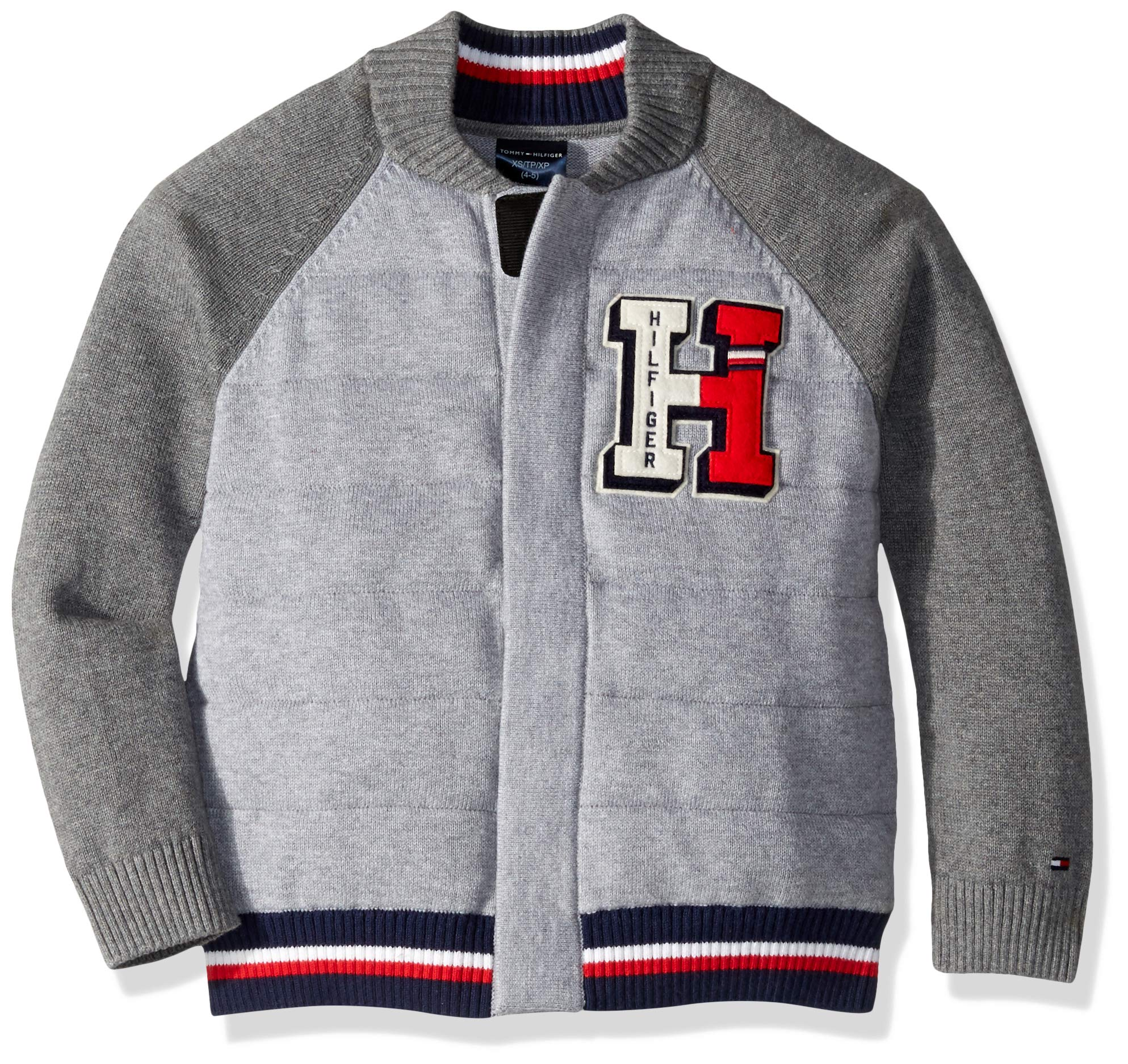 Tommy Hilfiger Boys' Adaptive Baseball Sweater with Magnetic Buttons at Front, medium grey heather b MD
