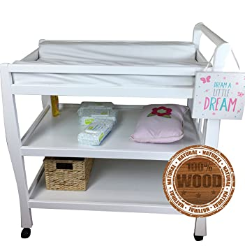 Solid Pine Baby Diaper Change Table With 2 Shelves (White)