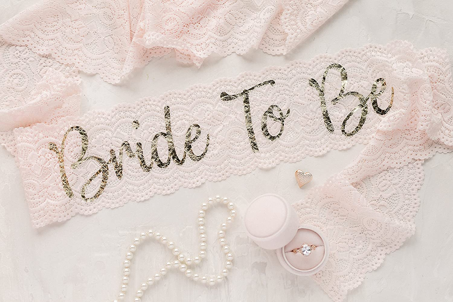 Blush Lace Bachelorette Sash - Gold Bride To Be